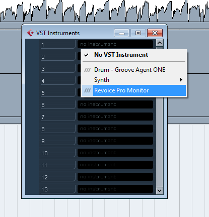 VST3 Monitor plug-in (Cubase example)