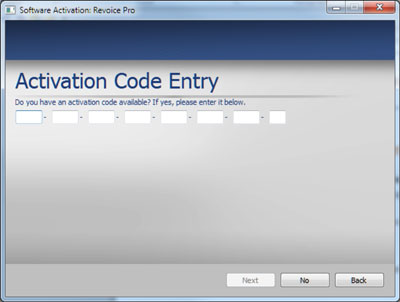 Activation Code Entry